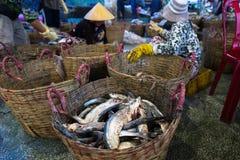 An Giang,越南- 2016年12月6日:被抓的鱼和工作活动在TAC Cau捕鱼港口在黎明,我孔K三角洲省  免版税库存照片