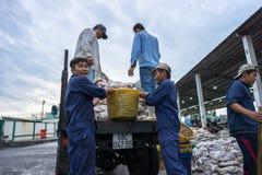 An Giang,越南- 2016年12月6日:钓鱼运输的活动在TAC Cau捕鱼港口在黎明,我孔Kien吉安三角洲省  免版税库存照片