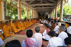 An Giang, Vietnam - Dec 6, 2016: Champa Buddhists and yong monks in temple at ordination ceremony that change the Vietnamese young. Men to be adult in Chau Doc stock photo