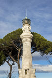Gianicolo Hill Lighthouse. Old lighthouse in Rome at the top of Gianicolo Hill, completed in 1911, seen from below Stock Image