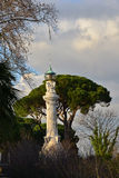 Gianicolo Hill Lighthouse. Sunset over old lighthouse in Rome at the top of Gianicolo Hill, completed in 1911 Stock Photo