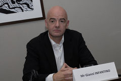 GIANNI INFANTINO_CANIDATE FOR PREISDENT FIFA SPORTS Royalty Free Stock Images