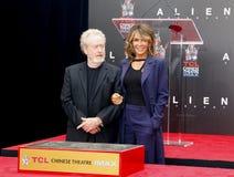 Giannina Facio och Ridley Scott royaltyfria foton