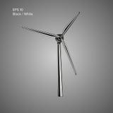 Giant air turbine vector illustration. Green power generator. Environmental friendly power source Stock Photos