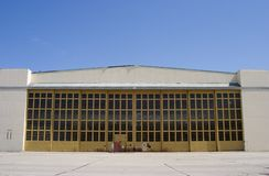 Giant Airplane Hangar. A big hangar on Alameda stock photo