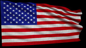 Giant American flag is developing slowly in the wind. + alfa. Loop animation stock footage