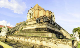 Giant Ancient Pagoga of Thai Buddhist Temple Stock Image