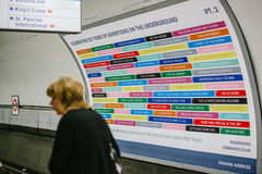 Giant anniversary poster in London tube Stock Images
