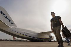 Giant Antonov in the airport in the airshow event. stock photography