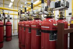 Giant Argon Fire Extinguishers in a rack in a computer server ro Stock Photography