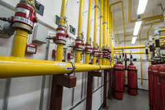 Giant Argon Fire Extinguishers in a rack in a computer server ro Stock Image