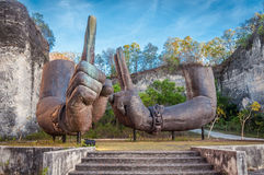 Giant Arms of Garuda Wisnu Kencana at Bali, Indonesia. Image of giant floating arms at Garuda Wisnu Kencana Cultural Park, Bali, Indonesia Stock Photo