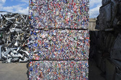 Giant Bales of Crushed Aluminum Cans Stock Photos
