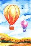 Giant balloons in the air against the blue sky Autumn landscape. Hand-drawn illustration. stock illustration