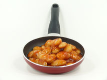Giant beans in the pan Stock Image