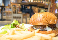 Giant Beef Cheese burger with fries salad. Giant Beef Cheese burger with fries and salad Stock Image