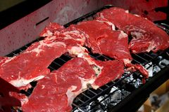 Giant beef steak on the barbecue in the garden 15 Stock Photography