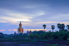 Giant big Buddha statue in Thailand at twilight time Royalty Free Stock Photography