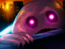 Giant Blob Monster. Digital painting of a giant pink blob monster attacking a city Royalty Free Stock Images