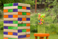 Giant Block Game. `Jenna` style stacking game with large 2x4s Stock Photography