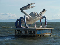 Giant Blue Crab Statue along the Shore of the Gulf of Thailand Royalty Free Stock Image