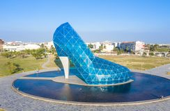 A giant blue glass wedding church shaped like a high-heeled shoe in Taiwan Chiayi, aerial view. Time-lapse photography. ChiaYi, Taiwan - October 27 2018: A royalty free stock photography