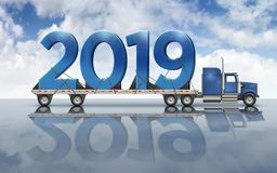 Giant Blue Numbers 2019 On A Flatbed Truck - 3D Illustration royalty free stock photography