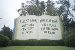 Giant book at entrance of Forest Lawn Cemetery royalty free stock image