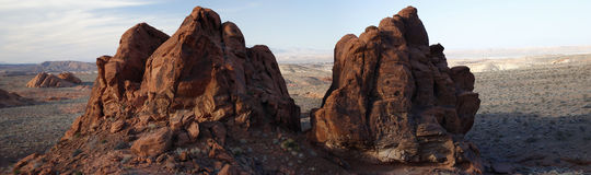Giant Boulders. A panorama of two giant boulders in the Valley of Fire Stock Photography