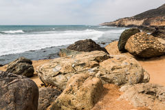 Giant Boulders and Cliffs at Point Loma Tide pools Stock Images