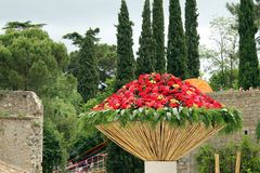 A giant bouquet in Girona, Catalonia Stock Image