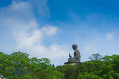 Giant bronze buddha statue in Hong Kong Royalty Free Stock Photography