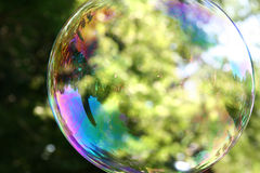 Giant Bubble. A close up of a bubble floating in the air Stock Photos