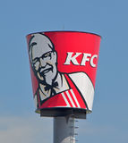 Giant Bucket of Kentucky Fried Chicken. Outside of the restaurant off a highway. KFC is one of the most successful fastfood chain royalty free stock images
