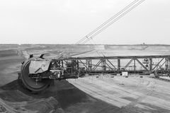 Giant Bucket-Wheel In Black And White Royalty Free Stock Image