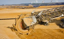 Giant bucket wheel excavator Royalty Free Stock Photos