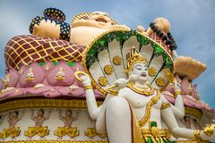Giant Budai or Pu-Tai or Happy Buddha or Laughing Big Buddha statue at Wat Plai Laem Temple in the Samui island in. Giant Budai or Pu-Tai or Happy Buddha or stock photo