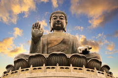 Giant Buddha. Sitting on lotusl. Hong Kong royalty free stock photo
