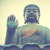 Giant Buddha. In Hong Kong. Retro style filtred image Royalty Free Stock Photo