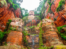 Giant Buddha in Leshan. Sichuan, China, view from bottom Stock Photography