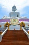 Giant Buddha. White Giant Buddha in thai Royalty Free Stock Photo
