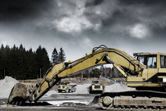 Giant bulldozers in action Royalty Free Stock Photos