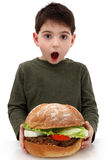 Giant Burger. Super huge giant burger for a very hungry boy stock photos