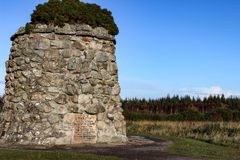 Close-up of the Giant Cairn at Culloden Moor. Giant cairn or grave marker at Culloden Moor, Scotland during a crisp autumn day stock images