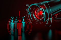 Giant camera checkes group of people as a metaphor of AI-driven artificial intelligence surveillance system taking control over. World we know concept. 3D royalty free stock photo