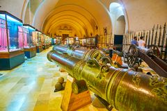Giant cannons in Palace Armoury of Valletta, Malta stock photos
