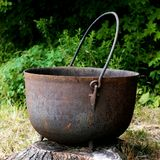 Giant Cast Iron Kettle. Giant Rustic Cast Iron Kettle stock photography