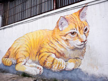Giant Cat Mural in George Town, Penang, Malaysia Stock Photography