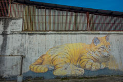 Giant Cat Mural, street art in George Town, Malaysia Royalty Free Stock Images