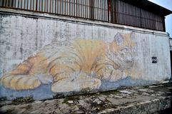 The Giant Cat Skippy Mural located in Georgetown, Malaysia royalty free stock images